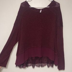 High low lace trim sweater